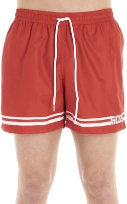 GCDS Logo Striped Drawstring Swim Shorts
