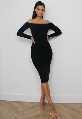 Missguided Black Rib Long Sleeve Bardot Midi Dress