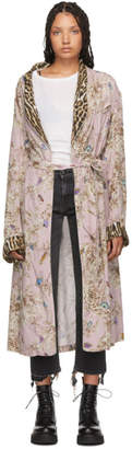 R 13 Pink Floral and Leopard Smoking Robe Coat