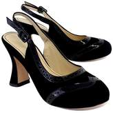 Marchez Vous Black Oxford Style Slingbacks
