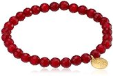 Satya Jewelry Fuschia Agate Gold Plated Regeneration Stretch Bracelet