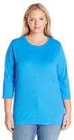 Fresh Women's Plus Size 3/4 Scoop Neck Tee W Satin Trim