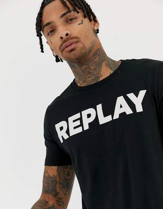 Replay bold logo crew neck t-shirt in black