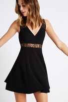 BCBGeneration Full Skirt Lace Insert V-Neck Dress - Black