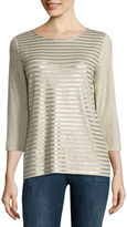 Liz Claiborne 3/4 Sleeve Sequin Stripe Tee