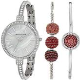 Anne Klein Women's AK/2535RDST Swarovski Crystal Accented Silver-Tone Bangle Watch and Bracelet Set