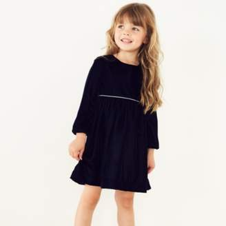 The White Company Velour Dress (1-6yrs), Navy, 1 1/2-2yrs