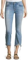 DL1961 DL 1961 Lara Glacier Crop Flare-Leg Distressed-Hem Jeans