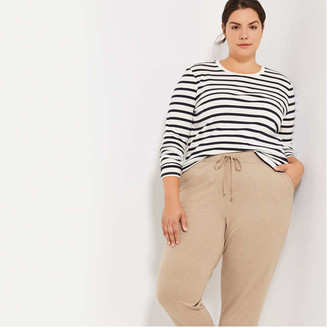 Joe Fresh Women+ Essential Stripe Tee, Dark Red (Size 2X)