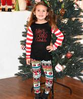 Beary Basics Red & Black 'Baby It's Cold Outside' Top & Leggings - Toddler & Girls