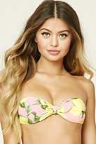 Forever 21 FOREVER 21+ Lemon Print Bandeau Bikini Top