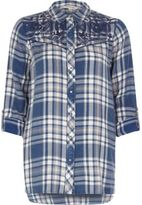 River Island Womens Blue check western embroidered shirt