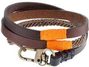 J.Crew Caputo & Co.TM triple-wrap leather and waxed cord bracelet