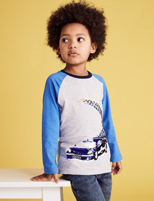 Marks and Spencer Cotton Reversible Sequin Racing Car Top (2-7 Yrs)