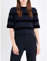 Maje Meline velvet striped knitted top