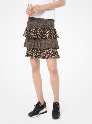 MICHAEL Michael Kors Mixed Leopard Matte Jersey Ruffled Skirt