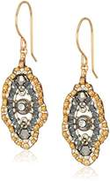 Miguel Ases Small Swarovski Center Oval Ruffle Contrast Drop Earrings