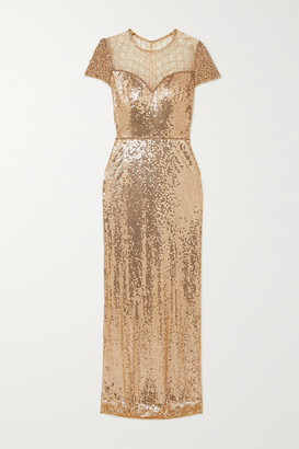 Jenny Packham Delphine Embellished Sequined Tulle Gown - Gold
