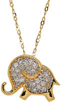 Lord & Taylor Diamond and 14K Yellow Gold Elephant Pendant Necklace