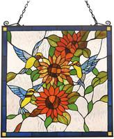 "Chloé Lighting Lighting COSTA Animal Tiffany-glass Window Panel 24"" Wide"