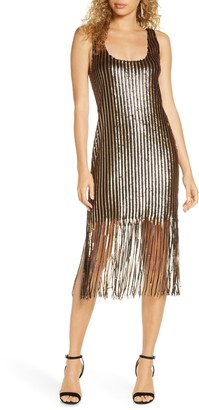 Bb Dakota X Steve Madden BB Dakota Girl's Best Friend Sequin Fringe Sleeveless Sheath Dress