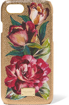 Dolce & Gabbana Textured-leather And Metallic Floral-print Acrylic Iphone 7 Case