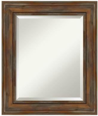 "Amanti Art Alexandria Rustic Brown Wood Bathroom Mirror, 22""x26"""