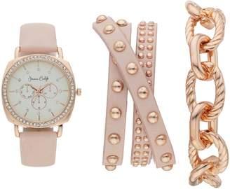 Women's Crystal Leather Watch & Bracelet Set