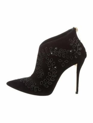 Oscar de la Renta Suede Printed Boots Black