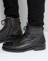 Aldo Giannola Lace Up Boots In Grey Leather