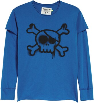 Nununu Kids' Sprayed Skull Long Sleeve Shirt