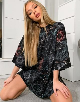 ASOS DESIGN oversized t-shirt dress in black with celestial all-over print