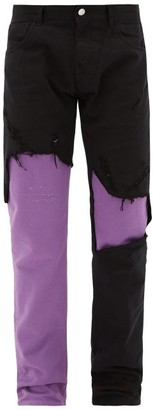 Raf Simons Distressed Layered Jeans - Mens - Black Purple