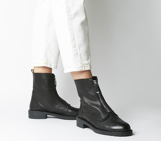 Office Atom Front Zip Boots Black Leather