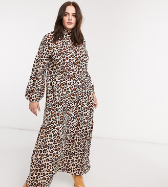 Verona Curve high neck long sleeve dress with tiered skirt in leopard print