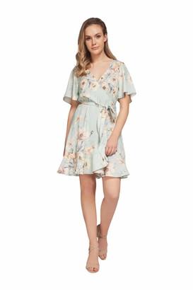 Dex Short Sleeve Wrap Dress Light Blue