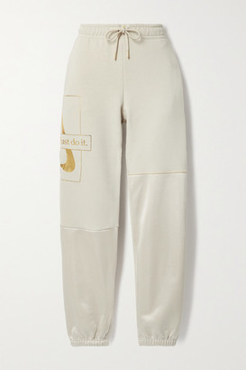 Nike Icon Clash Metallic Printed Cotton-blend And Satin-jersey Track Pants - Ecru