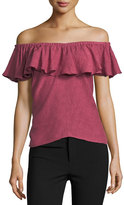 Rebecca Taylor Off-the-Shoulder Rose Jacquard Top