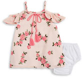 Rare Editions Baby Girls Baby Girls Embroidered Cold Shoulder Top and Bloomers Set
