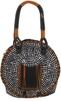 San Diego Hat Company Paperbraid Round Tote Bag, Black/White