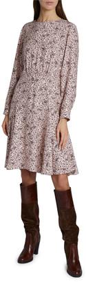 Chloé Bird Print Long-Sleeve Crewneck Silk Dress