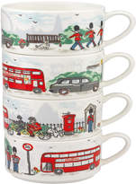 Cath Kidston London Streets Stack Of 4 Mugs