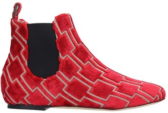 Bams Low Heels Ankle Boots In Red Fabric
