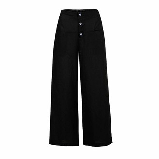 Greatestpak Trouses Clearance! Women's High Waist Wide Leg Cotton Linen Culottes Long Loose Pants Trousers by GreatestPAK Black