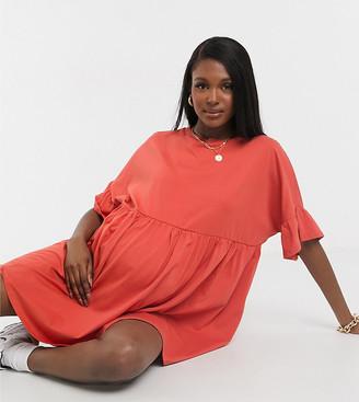 ASOS DESIGN Maternity super oversized frill sleeve smock dress in burnt orange