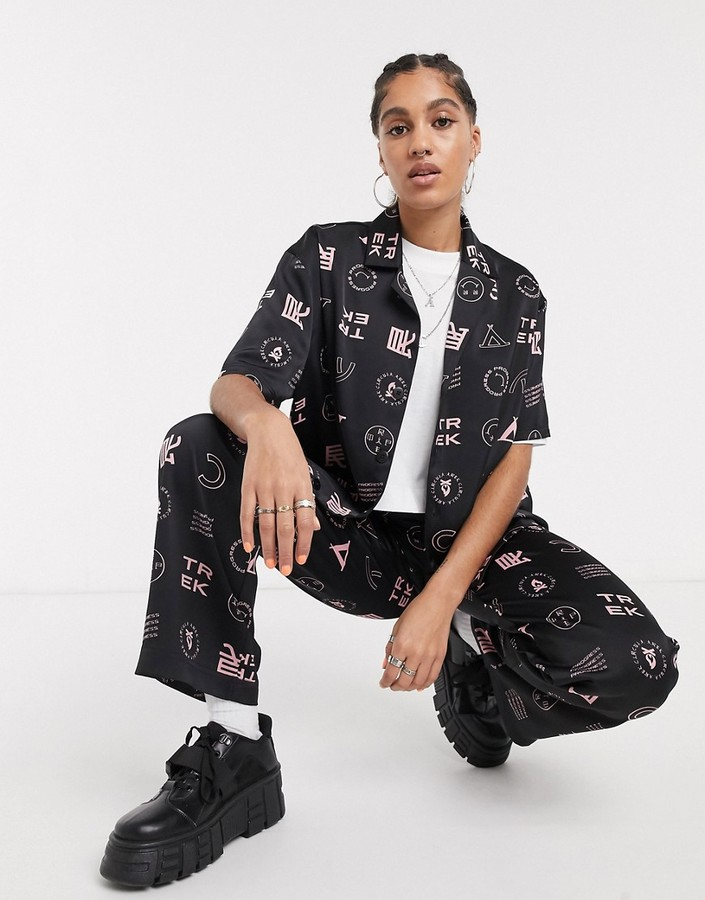 Thumbnail for your product : Collusion satin revere shirt in print