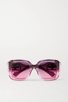 Balenciaga Paris Oversized Square-frame Degrade Acetate Sunglasses - Pink
