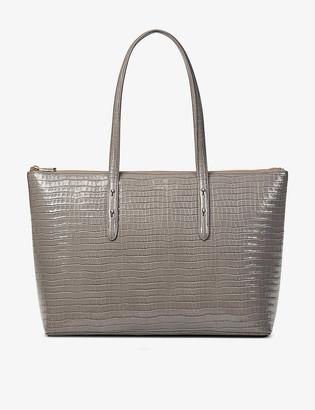 Aspinal of London Regent crocodile-embossed leather tote bag