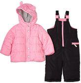 Carter's Toddler Girl Solid Puffer Jacket & Fairisle Bib Snow Pants Snowsuit Set