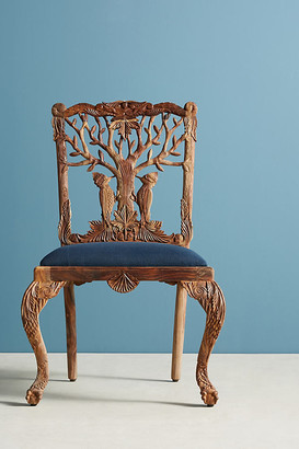 Anthropologie Handcarved Menagerie Woodpecker Dining Chair By in Brown Size ALL